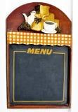 Menu. Empty cofee menu on a colored wood blackboard Stock Images