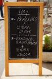 Menu en Asturias Stock Image
