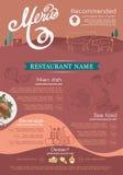 Menu en pictogramontwerprestaurant Royalty-vrije Stock Foto's
