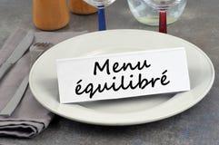 Menu equilibrato scritto in francese fotografie stock libere da diritti