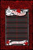 Menu escuro do vintage com rosas vermelhas e bandeiras Foto de Stock
