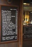 Menu espanhol da barra Imagem de Stock