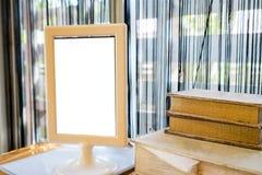 Menu etykietki puste miejsce z książkowym bocznym okno Zdjęcia Royalty Free