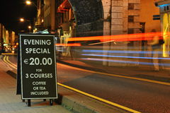 Menu evening specials. At Youghal, co. Cork. Ireland Stock Photo