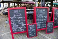 Menu exterior dos restaurantes franceses imagem de stock