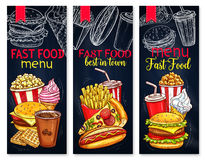 Menu for fast food restaurant vector banners Royalty Free Stock Photos