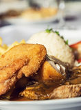 Menu festivo del petto di pollo, cucina internazionale Fotografie Stock Libere da Diritti