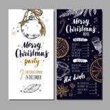 Menu festivo do inverno do Feliz Natal no cartão do quadro e do convite O molde do projeto inclui a mão diferente do vetor tirada Fotografia de Stock Royalty Free