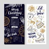 Menu festivo do inverno do Feliz Natal no cartão do quadro e do convite O molde do projeto inclui a mão diferente do vetor tirada ilustração do vetor