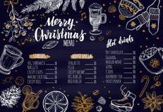 Menu festivo do inverno do Feliz Natal no quadro O molde do projeto inclui ilustrações tiradas e Brushpen do vetor mão diferente Imagens de Stock Royalty Free