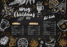 Menu festivo do inverno do Feliz Natal O molde do projeto inclui ilustrações tiradas e Brushpen do vetor mão diferente modernos Foto de Stock Royalty Free