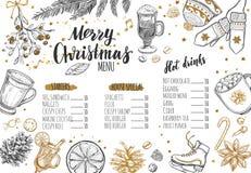 Menu festivo do inverno do Feliz Natal O molde do projeto inclui ilustrações tiradas do vetor mão diferente e Brushpen Callig mod Foto de Stock