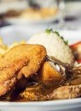 Menu festivo do peito de frango, culinária internacional Fotos de Stock Royalty Free