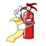 With menu fire extinguisher mascot cartoon royalty free illustration