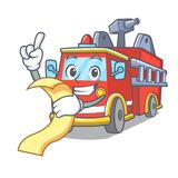 With menu fire truck mascot cartoon. Vector illustration Royalty Free Stock Image