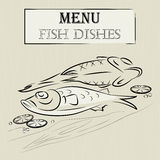 Menu fish dishes vector cover  seafood Stock Photography