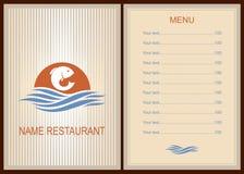 Menu fish restaurant. Brochure template for restaurant. Menu fish restaurant. Menu design with fish.  Brochure template for restaurant. Vector image Stock Images