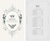 Menu with floral ornaments Royalty Free Stock Photography
