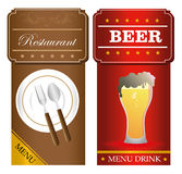 Menu food and drinks Stock Photo