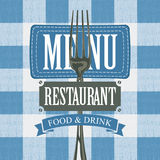 Menu with a fork and fabric stripe on the tablecloth. Vector banner for menu cafe or restaurant with a fork and fabric stripe against the background of a white Stock Image