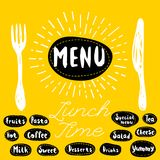 Menu, lunch time Royalty Free Stock Photos