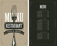 Menu with fork Stock Image