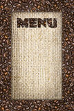 Menu frame of coffee beans Royalty Free Stock Photo
