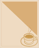 Menu frame a Cup of coffee with cream. Royalty Free Stock Photos