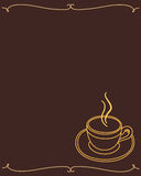 Menu frame a Cup of coffee dark brown. Royalty Free Stock Image