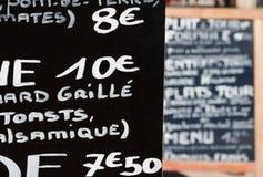Menu francês escrito à mão Fotos de Stock Royalty Free