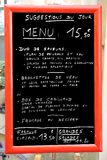 Menu in France Royalty Free Stock Image