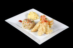 Menu of fried fish with rice and mashed potatoes Royalty Free Stock Images