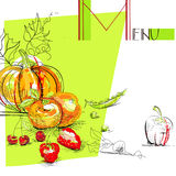Menu with fruit and vegetables. Universal template for greeting card, web page, background Royalty Free Stock Images