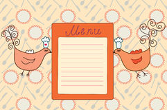 Menu with funny birds Stock Photography
