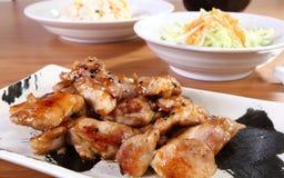 Menu con il pollo cotto Fotografie Stock Libere da Diritti