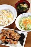 Menu giapponese con il pollo Immagini Stock Libere da Diritti