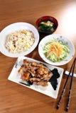 Menu giapponese con il pollo Immagini Stock