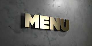 Menu - Gold sign mounted on glossy marble wall  - 3D rendered royalty free stock illustration Stock Photo