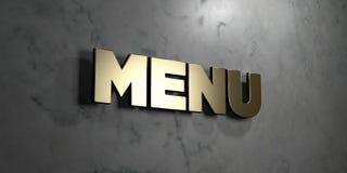 Menu - Gouden teken opgezet op glanzende marmeren muur - 3D teruggegeven royalty vrije voorraadillustratie Stock Foto