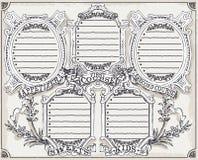 Menu gráfico da página do vintage para o restaurante ilustração royalty free