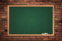 Menu green blackboard. Menu blackboard on wall Brick mortar background stock image