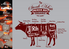 Menu  for grilling with steaks and cow. Menu template for grilling with steaks and cow Stock Images