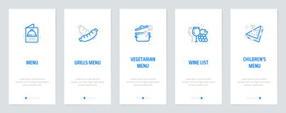 Free Menu, Grills Menu, Vegetarian Menu, Wine List, Children`s Menu Vertical Cards With Strong Metaphors. Stock Photos - 139380633