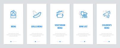 Menu, Grills Menu, Vegetarian Menu, Wine list, Children`s menu Vertical Cards with strong metaphors. Template for website design royalty free illustration