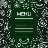 Menu with  hand drawn vegetarian doodle elements Stock Images
