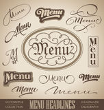 MENU hand lettered headlines (vector) Royalty Free Stock Images
