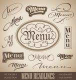 MENU hand lettered headlines (vector). Vector set: menu headlines, handmade calligraphic lettering (eps8 Royalty Free Stock Images