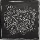 Menu hand lettering On Chalkboard Royalty Free Stock Image