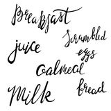 Menu hand lettering collection. Scrambled eggs, milk, bread, oatmeal, juice - words in Handmade vector calligraphy set Stock Photos