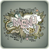 Menu hand lettering and doodles elements Royalty Free Stock Images